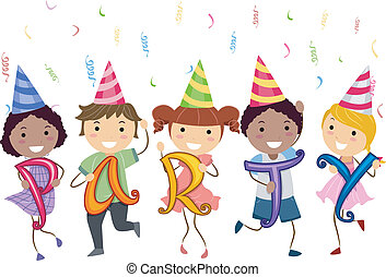 Stickman Kids having a School Party - Illustration of...