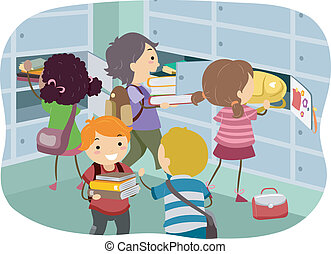 Stickman Kids at Locker - Illustration of Stickman Kids...