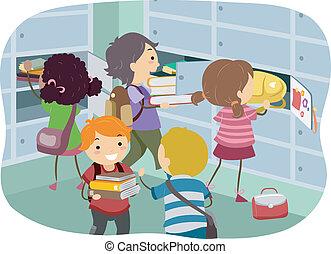 Stickman Kids at Locker - Illustration of Stickman Kids...