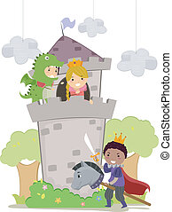 Stickman Kids in Dragon and Princess School Play -...