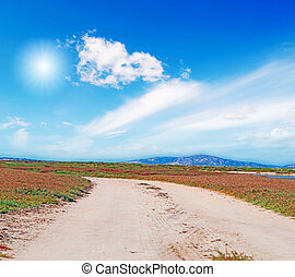 dirt road and bright sun - dirt road under a bright sun