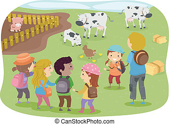 Stickman Kids School Trip to Farm - Illustration of Stickman...