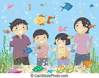 Stickman Family Looking at an Aquarium - Illustration of...