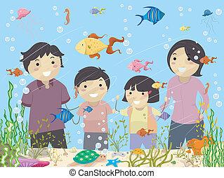 Stickman Family Looking at an Aquarium