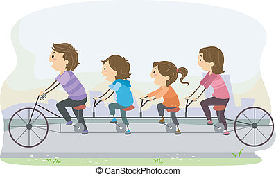 Stickman Family Riding a Tandem Bicycle - Illustration of...
