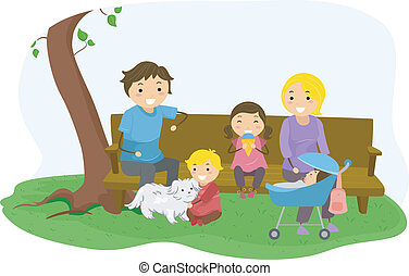 Stickman Family Bonding at the Park - Illustration of...
