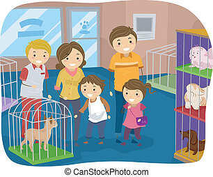 Stickman Family Buying a Dog From a Pet Store - Illustration...