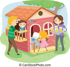 Stickman Family in a Playhouse