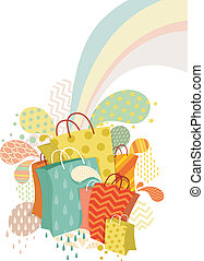 Abstract Shopping Bags Design - Illustration of Colorful...