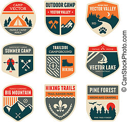 Retro camp badges - Set of vintage outdoor camp badges and...