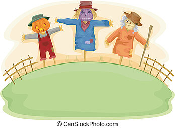 Scary Scarecrows - Illustration of Scary Scarecrows on a...