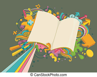 Educação, desenho, em branco, livro