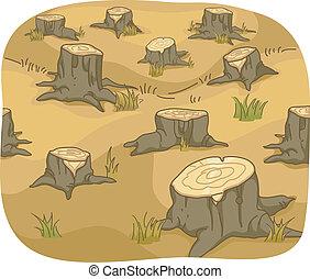 Deforestation - Illustration of Tree Stumps showing...