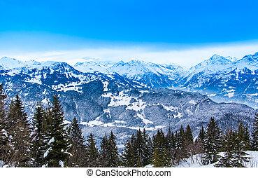 swiss winter season landscape