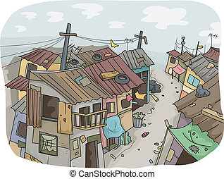 Slums - Illustration of a Slum Neighborhood