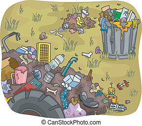 Waste Dump  - Illustration of Waste Dump in a Field
