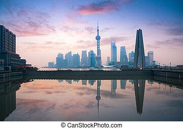 beautiful morning in shanghai - beautiful shanghai, rosy...