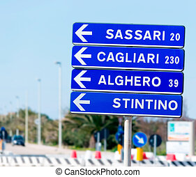 road sign and distances - road sign with distances of...