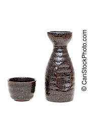 japanese sake cup and bottle - japanese traditional sake cup...