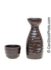 japonés, motivo, taza, botella