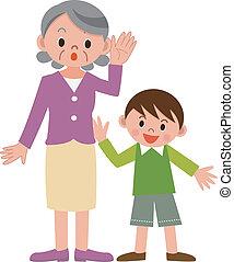 Senior, kvinna, hårt, åhörande