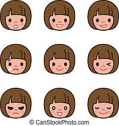 Expression set of girl