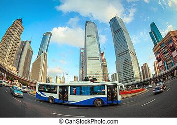 modern city street scene in shanghai