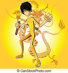 Kungfu Master Wearing Yellow Jumpsuit Playing Nunchucks With...