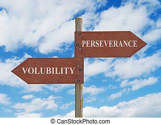 PERSEVERANCE VS VOLUBILITY - wooden crossroad sign on cloudy...
