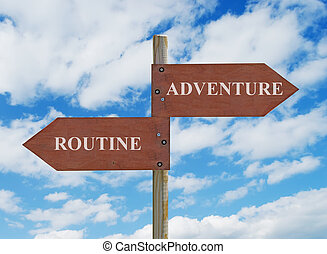 adventure vs routine - wooden crossroad sign on cloudy...