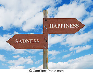 HAPPINESS vs SADNESS - wooden crossroad sign on cloudy...