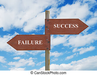 SUCCESS vs FAILURE - wooden crossroad sign on cloudy...