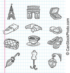 doodle Paris element icons