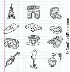 doodle Paris element icons