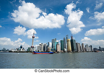 shanghai under the blue sky with wide skyline