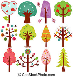 Vector of sweet Retro Tree - A cute vector collection of...