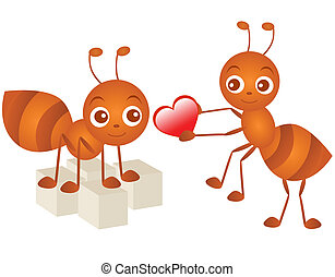 Ants in love - A colorful Theme of cute vector Icons : Ants...