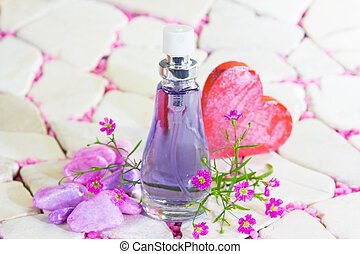 Pretty bottle of perfume - Pretty bottle of blue perfume or...