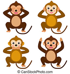 Monkey - See Hear Speak No Evil - A colorful set of cute...