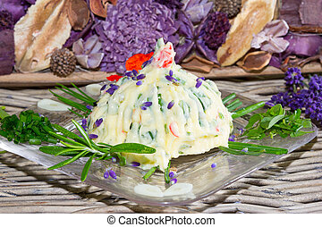 Natural fresh herb butter - Pat of delicious creamy natural...