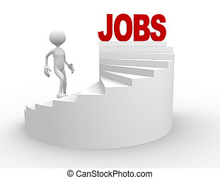 Jobs - 3d people - man, person on stairs. Jobs