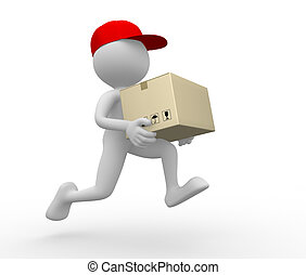 Postman, delivery. - 3d people - man, person with a package....