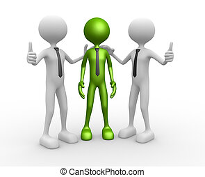 Congratulation - 3d people - men, person together....