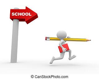 Directional sign. School