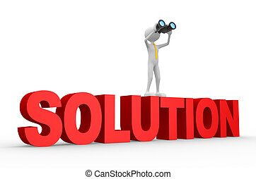 3d man, with a binocular. Solution concept. - 3d people -...