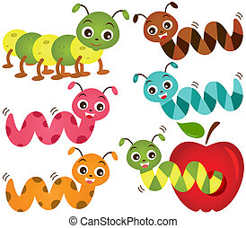 Vector Icons : Worms and Apple - A colorful Theme of cute...