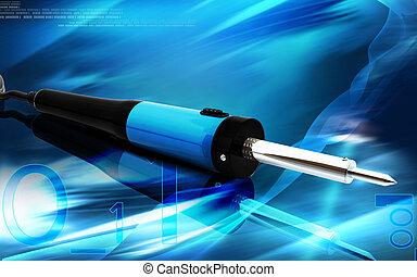 Soldering tool - Digital illustration of soldering toll in...