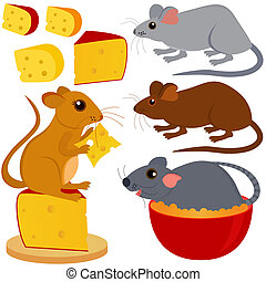 Rat Mouse and Cheese - A colorful and cute vector collection...