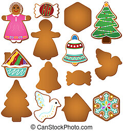 Gingerbread (Christmas cookie) - A colorful set of Vector...