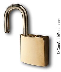 Brass Lock in Unlocked Position - Isolated brass lock on a...